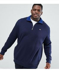 Lacoste - Plus Half Zip Sweat In Navy - Lyst