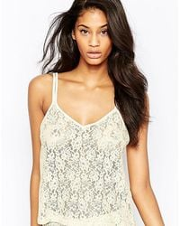 Wolf & Whistle - Lace Open Back Cami Top - Lyst