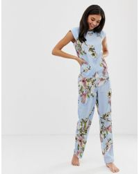 Ted Baker - B By Harmony Floral Print Pyjama Trouser In Blue - Lyst