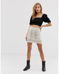 Glamorous - Embroidered A Line Mini Skirt - Lyst