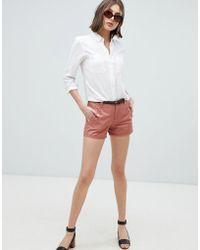 Vero Moda - Belted Chino Shorts - Lyst