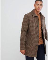 Bellfield - Lang geschnittener, brauner Mantel aus Wollmischung mit Hahnentrittmuster und Knopfleiste - Lyst