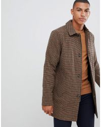 Bellfield - Wool Mix Longline Button Dogtooth Overcoat In Brown - Lyst