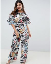 ASOS - Jumpsuit With Kimono Cape Detail And Wide Leg In Animal Floral Print - Lyst