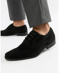 ASOS - Oxford Shoes In Black Faux Suede - Lyst
