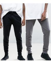 ASOS - Super Skinny Joggers 2 Pack Black/grey Save - Lyst
