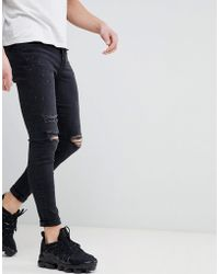 Good For Nothing - Super Skinny Jeans With Knee Rips In Black - Lyst