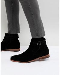 ASOS - Chelsea Boots In Black Suede With Strap Detail And Natural Sole - Lyst