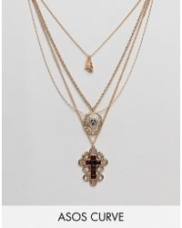 ASOS - Asos Design Curve Exclusive Multirow Necklace With Choker And Crystal Vintage Icon And Cross Pendant In Gold - Lyst