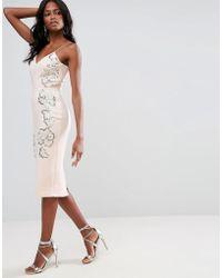 ASOS - Embellished Contour Cami Midi Dress - Lyst