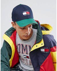 Hilfiger Denim - Tommy Jeans 90's Capsule Colourblock Baseball Cap In Navy/green - Lyst