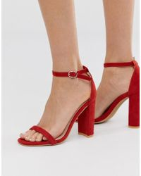 Glamorous - Rust Barely There Block Heeled Sandals - Lyst
