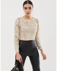ASOS - Long Sleeve Top With Sequin Embellishment - Lyst