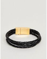 Vitaly - Tether Bracelet In Gold & Black - Lyst