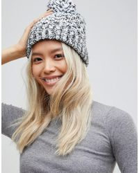 French Connection | Mixed Marl Knitted Beanie Hat | Lyst