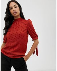Fashion Union - High Neck Blouse In Spot - Lyst