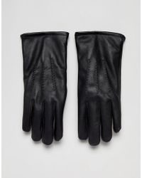 French Connection - Classic Leather Gloves In Black - Lyst