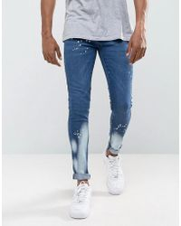 Criminal Damage - Super Skinny Jeans With Bleach - Lyst