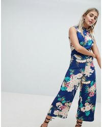 Missguided - Open Back High Neck Culotte Jumpsuit - Lyst