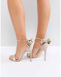 Office - Harriet Gold Mix Bow Detail Heeled Sandals - Lyst