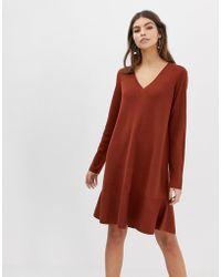 fb23376b7c ASOS - V Neck Dress In Fine Knit With Ruffle Hem - Lyst