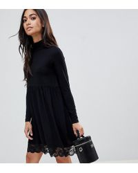 ASOS - Polo Neck Skater Dress With Lace Hem - Lyst
