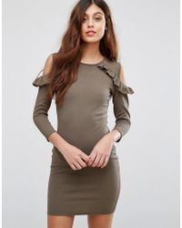 Be Jealous - Cold Shoulder Dress With Frill Detail - Lyst