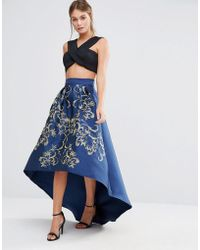 Chi Chi London - Premium Full Midi Skirt With Gold Embroidery - Lyst