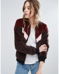 First & I - Varsity Style Teddy Fur Bomber - Lyst