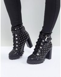 ASOS - Exceed Leather Studded Hiker Boots - Lyst