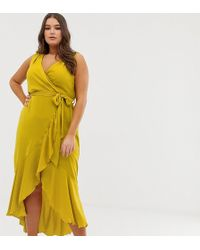 Flounce London - Wrap Front Midaxi Dress In Chartreuse - Lyst
