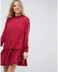 ASOS - Washed Mini Dress With Ruffle Hem - Lyst
