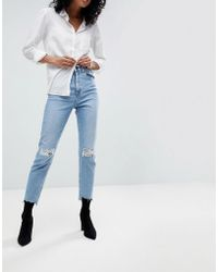 ASOS - Design Farleigh High Waist Slim Mom Jeans In Light Vintage Wash With Busted Knee And Rip & Repair Detail - Lyst
