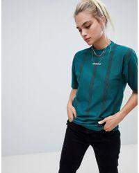 adidas Originals - Adidas Eqt High Neck Stripe T-shirt In Green - Lyst