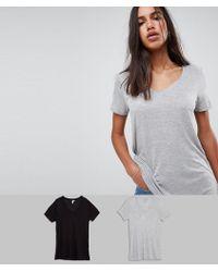 ASOS - V-neck Swing T-shirt 2 Pack Save 10% - Lyst
