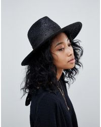 Brixton - Macy Fedora In Black With Beaded Detail - Lyst