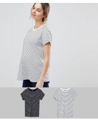 ASOS - Asos Design Maternity Easy T-shirt In Stripe 2 Pack Save 15% - Lyst