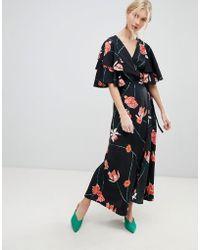Vero Moda - Printed Flutter Sleeve Wrap Maxi Dress - Lyst