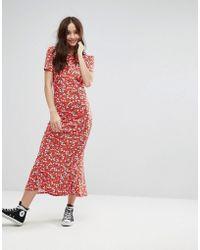 ASOS - City Maxi Tea Floral-print Dress  - Lyst