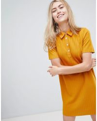 Bershka - Ribbed Collared Dress In Mustard - Lyst