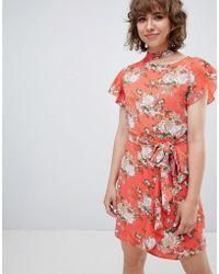 Walter Baker - Frill Front Floral Print Tea Dress - Lyst