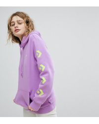 Converse - Exclusive To Asos Hoodie In Purple With Arm Branding - Lyst