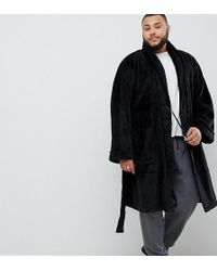 French Connection - Plus Fleece Dressing Gown In Black - Lyst