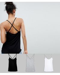 ASOS DESIGN - Cami With Cross Straps In Swing Fit 3 Pack Save - Lyst
