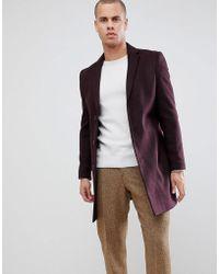 New Look - Overcoat In Burgundy - Lyst