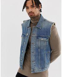 88ffbeb75cb96e Lyst - ASOS Sleeveless Denim Jacket With Flag Print in Blue for Men
