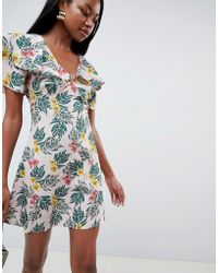 Fashion Union - Tea Dress With Flutter Sleeves In Tropical Print - Lyst