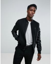 Stradivarius - Bomber Jacket With Faux Leather Sleeves In Black - Lyst