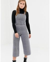 New Look - Check Pinny Jumpsuit In Blue Pattern - Lyst