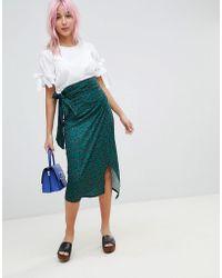 Amy Lynn - Ditsy Leopard Print Wrap Midi Skirt - Lyst